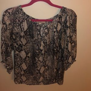 3/4 sleeve silky sheer blouse.